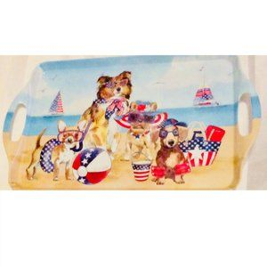Melamine Serving Tray Patriotic Dogs at Beach